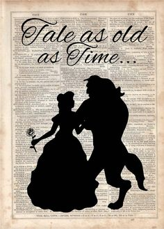 Tale as Old as Time,Beauty and the beast, Dictionary Art Print, Vintage…