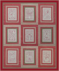 Rosalie Quinlan-It's a Redwork Christmas - Quilted Hearts