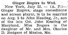 Ginger Rogers From the Kokomo Tribune, July 22, 1930