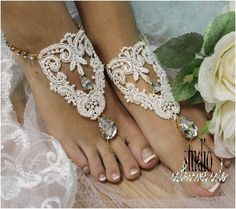 Say your vows on the beach wearing our romantic gold rhinestone ivory lace handmade barefoot sandals! Our gorgeous lace and crystal drop barefoot sandals are perfect for your romantic beach wedding. F                                                                                                                                                                                 More