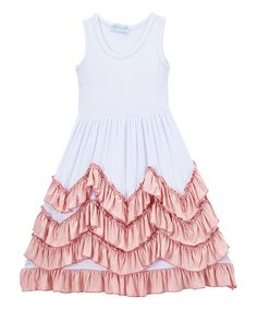 Loving this Just Couture White & Pink Tank Top Ruffle Layer Dress - Kids & Tween on #zulily! #zulilyfinds