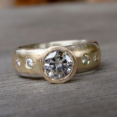 Moissanite Recycled 14k Yellow Gold and by mcfarlanddesigns, $1,898.00