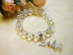 Clear Glass Stretch Bracelet Beaded Glass by TheresACharm4That, $12.00