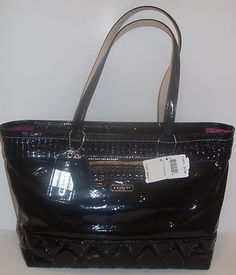 Coach Black Poppy Patent Leather Tote (18674). WANT THIS! :)