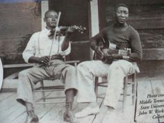 Muddy Waters with Son Sims at the time of the Lomax recordings. Photo credit: Middle Tennessee University John Work Collection.