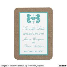 Turquoise Seahorse Burlap Beach Wedding Collection