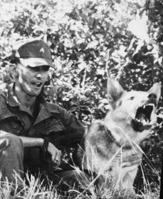 Sgt. Roscoe Bookbinder & war dog Rex. Vietnam  1969.