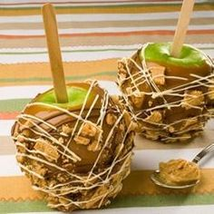 Apples and peanut butter are a classic combination. Surprise your friends this fall with this crispy peanut butter cookie coated caramel apple creation.