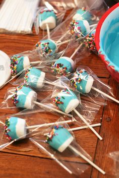 Sugar plums.  Chocolate covered marshmallow pops.  Easy, tasty.