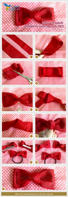 How to make a ribbon hair bow in red (pretty certain it would work in other colours too)!