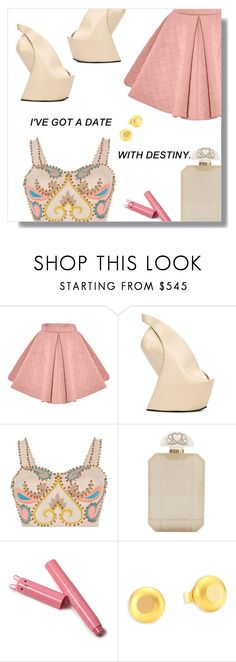 """Date Time."" by peony-and-python ❤ liked on Polyvore featuring Marina Hoermanseder, UN United Nude, Manish Arora, Charlotte Olympia, Stephanie Kantis, DateNight and nude"