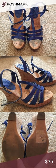 """Cobalt blue straps wedges These sandals are so cute for summer! The cork heel is about 4"""" and these are in great condition! Make me an offer! Colin Stuart Shoes Wedges"""