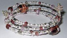 Handmade Pink, Purple & Ice Glass Memory Wire Bracelet