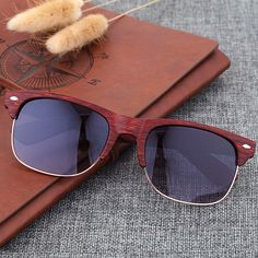 Retro Bamboo Imitation Wood Women Sunglasses Mens Sun Glasses for men Rivet Clubmaster Eyewear Oculos De Sol Masculino Feminino
