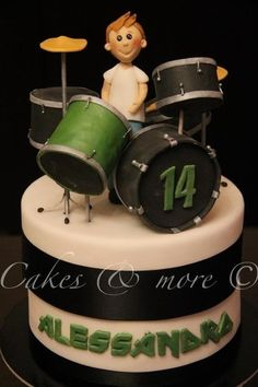 Love this, and Micah loves green, so it would be great for his birthday...w/o the actual drummer boy.   Drum cake  Cake by cakesandmore