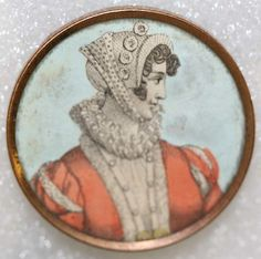 ca 1790 button with image printed on paper under glass and set in metal. French