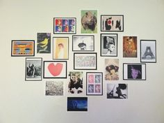 a wall collage from my college apartment with postcards from the eiffel tower, andy warhol, gustav klimt, audrey hepburn, clyfford still, gerhard richter, richard avedon, wall art
