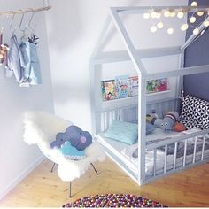 baby blue/grey pastel little boys room - such a cute cosy reading nook