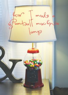 How to make a gumball machine lamp - I have to do this! Diy Gumball Machine, Bubble Gum Machine, Baby Furniture Sets, Light Project, Diy Interior, Lampshades, Lamp Light, Light Fixtures, Diy Home Decor