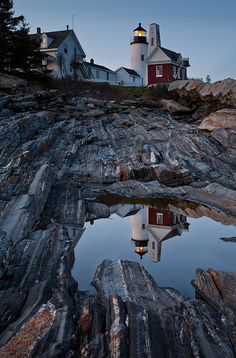 : Moonlit reflection of Pemaquid Light, New Harbor, Maine