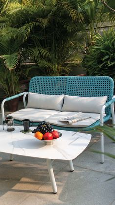 Summer is finally here! Take a look at this vibrant sofa set which will brighten up your outdoor space. Never have a dull morning with furniture from IDUS. The comfortable seating and detailed design of the table will beautify your entire space and inspire you to spend more time outdoors ! Get in touch with us for details. Outdoor Garden Furniture, Outdoor Sofa, Outdoor Spaces, Outdoor Living, Outdoor Decor, Sofa Furniture, Online Furniture, Furniture Design, Sofa Set