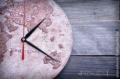 """Часы настенные с ручной росписью """"Карта мореплавателя"""" - коричневый,бежевый Artclock clock wallclock  decor design map vintage sailor's map sailor  beige brown"""