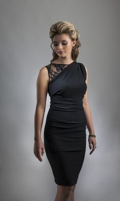 A Little Black Dress by Perlae Couture with sweet sheer lace detail on the shoulder and fabulous ruching. The perfect LBD for that holiday party! #Littleblackdress #lacedress #dressfortheholidays