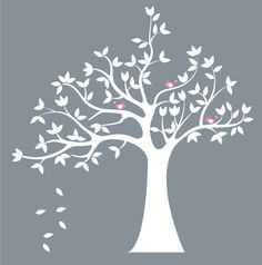 Items similar to Kids wall decal for nursery - Vinyl tree decal - Bird tree decal - white tree decal - tree decal on Etsy Childrens Wall Decals, Kids Wall Decals, Nursery Wall Decals, Room Wall Painting, Tree Decals, Quilting Room, Photo Album Scrapbooking, Tree Wall Art, Bird Tree