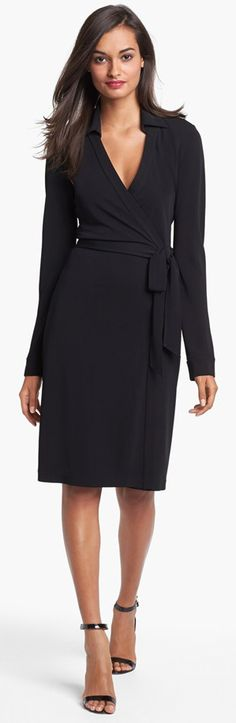 Diane von Furstenberg almost invented the wrap dress. This one in black can be dressed up with a statement necklace or dressed down with hoop earrings and cute flats.