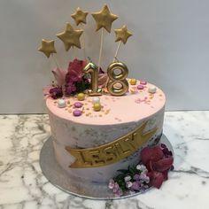 tarta buttercream  rosa y oro