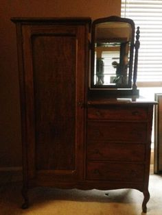 Handcrafted Vintage Chifferobe Wardrobe/Dresser with Mirror Handcrafted Mirror Bears Furniture, Vintage Bedroom Furniture, Painting Wooden Furniture, Farmhouse Living Room Furniture, Bedroom Furniture Design, Furniture Layout, Rustic Furniture, Home Furniture, Antique Furniture