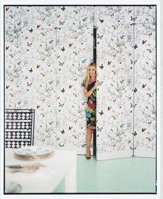 Downstairs bath- butterfly wallpaper