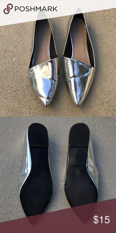 Zara slip on Worn only once, like new, silver lining Zara Shoes Flats & Loafers