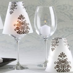 Damask Vellum Shades For Wedding Candles - Set of 24 | #exclusivelyweddings | #blackandwhitewedding
