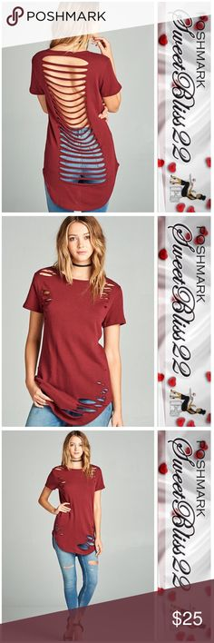 Wine Distressed Top SHORT  SLEEVE ROUND NECK DISTRESSED LADDER CUT-OUT BACK FRENCH TERRY TOP. Comes in Wine, Dusty Rose, Heather Gray, and Olive Green. This listing is for the color wine!⭐️Small measures 38 inches in the bust ⭐️Medium measures 40 inches in the bust.  ⭐️ L measures 42 inches in the bust Tops