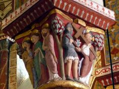The interior surprises the visitor with its polychrome a-fresco xiii th century, restoration work performed between 1857 and Romanesque Sculpture, Romanesque Art, Medieval Times, Medieval Art, Clermont Ferrand, Poitou Charentes, Religious Images, Chapelle, Gothic Architecture