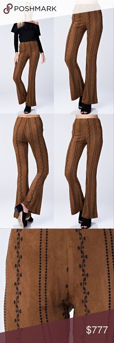 be23df97710c5c Embroidered Suede Pants Celebrate the unity of a relaxed, free-spirited  bohemian aesthetic with beautiful prints and feminine details.