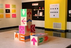 For his thesis project, Robert Finkel chose to produce an exhibition based on the history of the arrow, entitled 'Up, Down, Left, Right'.