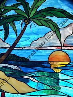 Beach Scene Stained Glass Window Tampa Florida