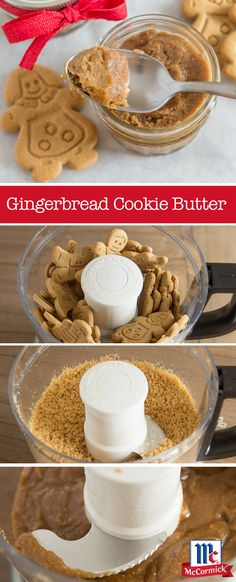 This gingerbread cookie butter recipe is full of holiday flavor! Puree homemade or store-bought gingerbread cookies with confectioners' sugar, coconut oil and cinnamon to create the ultimate spread fo (Chocolate Butter Recipe) Yummy Treats, Delicious Desserts, Sweet Treats, Yummy Food, Butter Cookies Recipe, Cookie Butter, Dessert Dips, Dessert Recipes, Christmas Pancakes