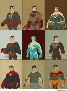 The many costumes of Superman. Art by Dave Bardin. From top left to right: Classic Superman's first appearance, Superman: Red Son, Justice Lord Superman, Kingdom Come Superman, Superman Blue, Recovery Suit Superman, Superman One Million, Grant Morrison's recent Superman revamp, and Superman in his Kryptonian garb.