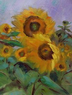Sunflower Huggers by Susan Renee Lammers Oil ~ 8 x 6
