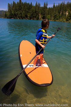 SUP, Stand Up Paddle Board, BOGA board on Scotts Flat Lake, Nevada City, rental from Mountain Recreation