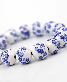 Blue-and-white Porcelain Beads Bracelet