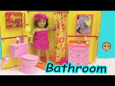 American Girl Doll Bathroom - Shower, Pink Toilet, Brush Teeth, Surprise Blind Bags - YouTube