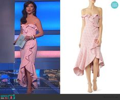 Julie's pink ruffled dress on Big Brother Lace Midi Dress, Cutout Dress, Strapless Dress, Big Brother Style, Scalloped Dress, Bow Blouse, Asymmetrical Tops, Pink Lace, Fashion Outfits