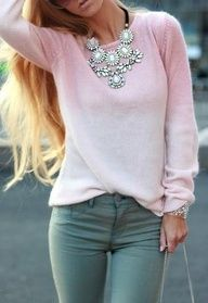 Gray jeans and a pink sweater and a statement necklace