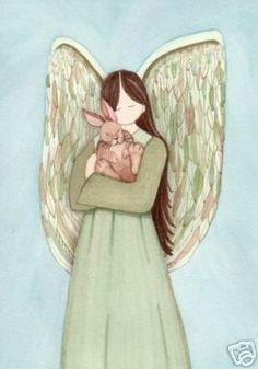 Rabbit bunny hare with angel / Lynch signed folk art print