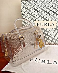 Furla metallic croc bag