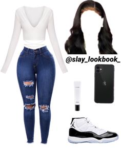 v neck outfit Jordan Outfits For Girls, Cute Teen Outfits, Teenage Girl Outfits, Cute Comfy Outfits, Teenager Outfits, Teen Fashion Outfits, Stylish Outfits, Dope Fashion, Swag Fashion
